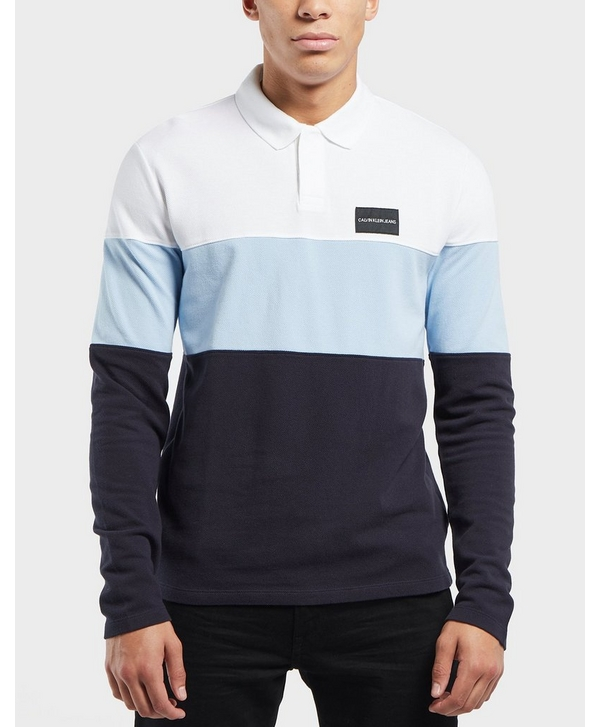 4f3e7acbe Calvin Klein Colour Block Long Sleeve Polo Shirt | scotts Menswear