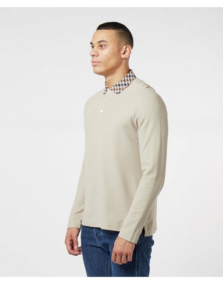 Aquascutum Club Check Collar Long Sleeve Polo Shirt