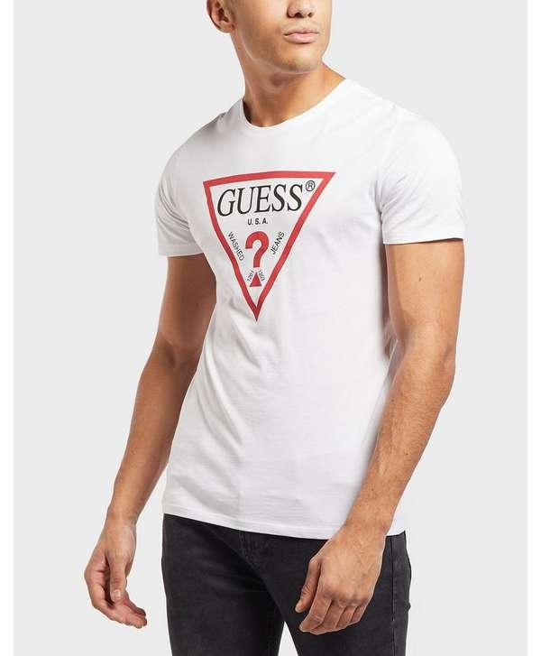6007d6b56653 GUESS Triangle Logo Short Sleeve T-Shirt   scotts Menswear