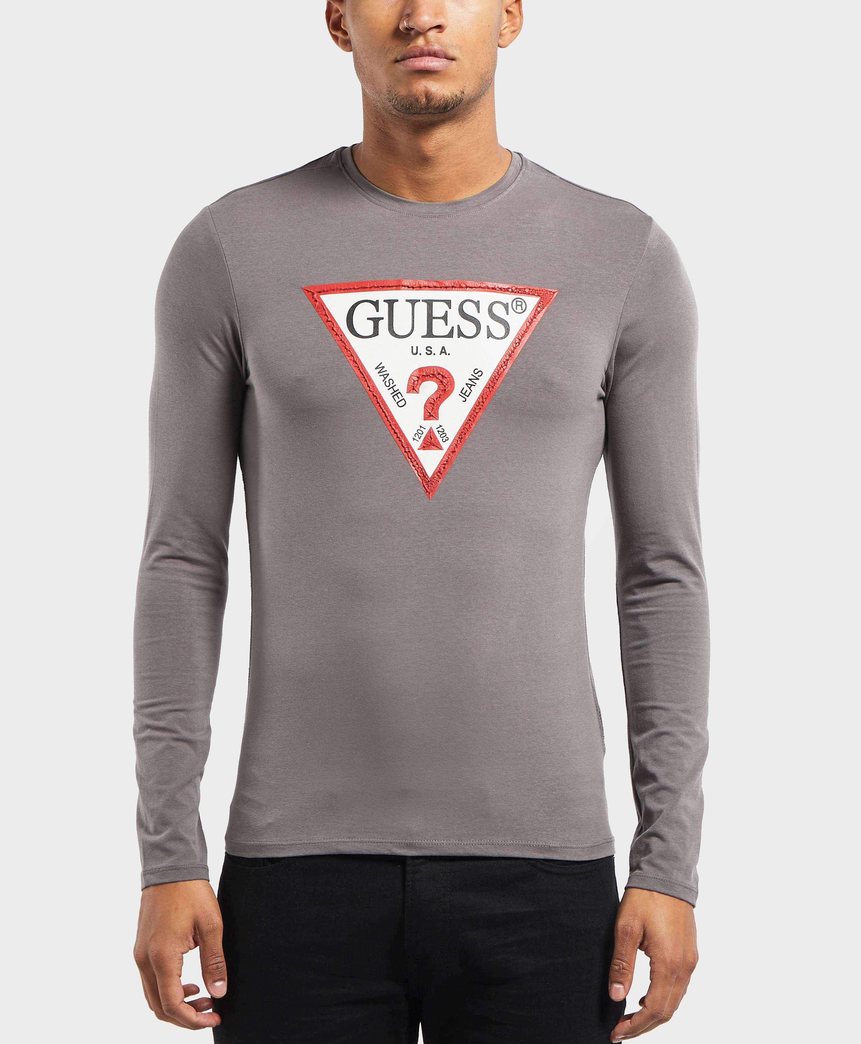 GUESS Triangle Logo Long Sleeve T-Shirt