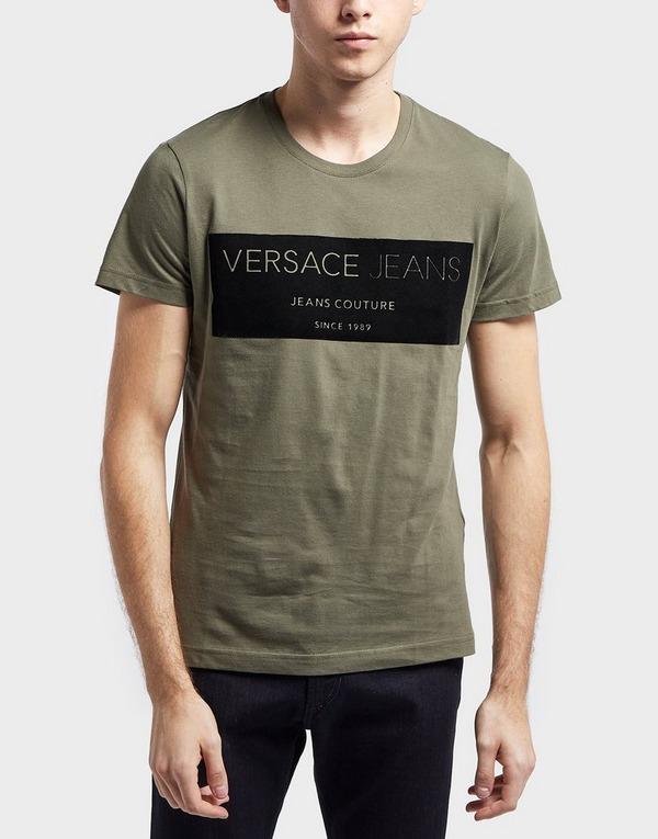 Versace Jeans Flock Square Logo Short Sleeve T-Shirt