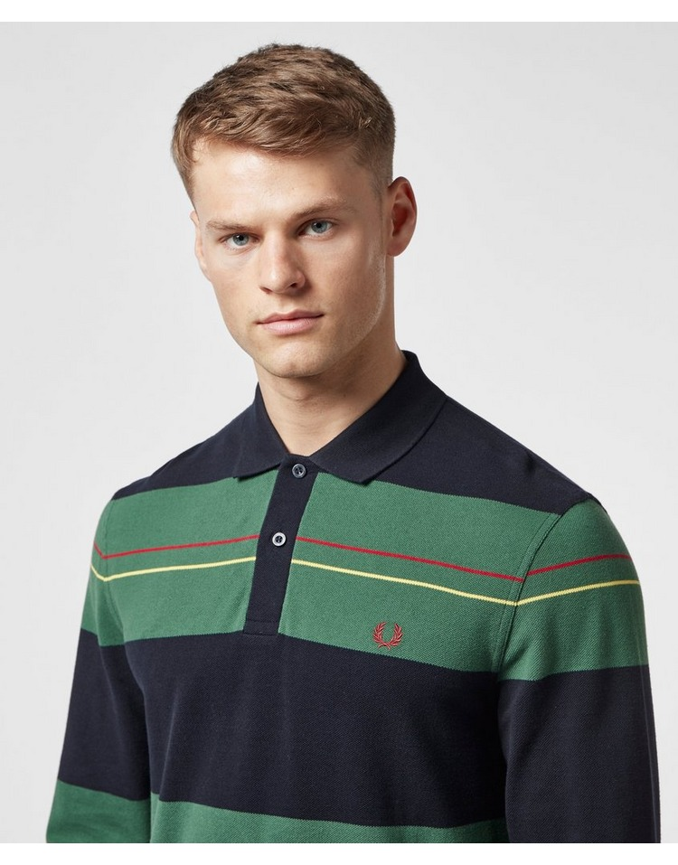 Fred Perry Panelled Stripe Long Sleeve Polo Shirt