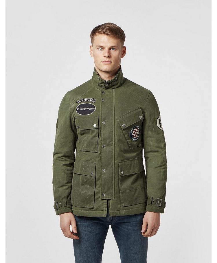 Pretty Green Racer Patch Waxed Jacket