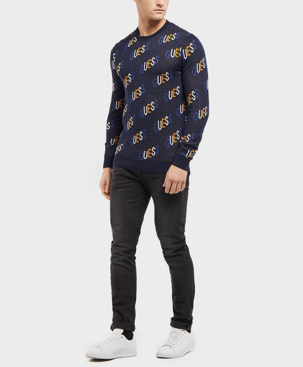 Guess All Over Logo Knitted Jumper - Online Exclusive