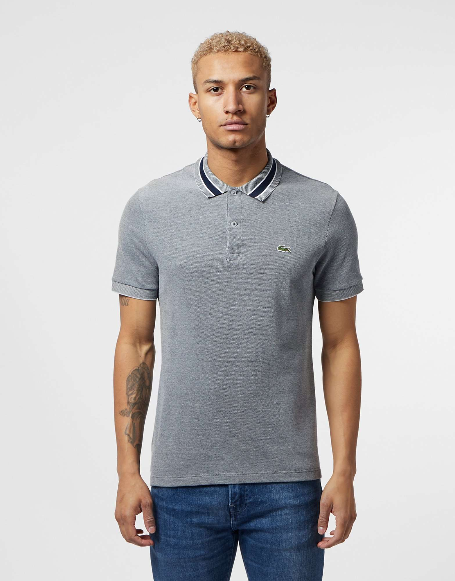 Lacoste Collar Stripe Short Sleeve Polo Shirt