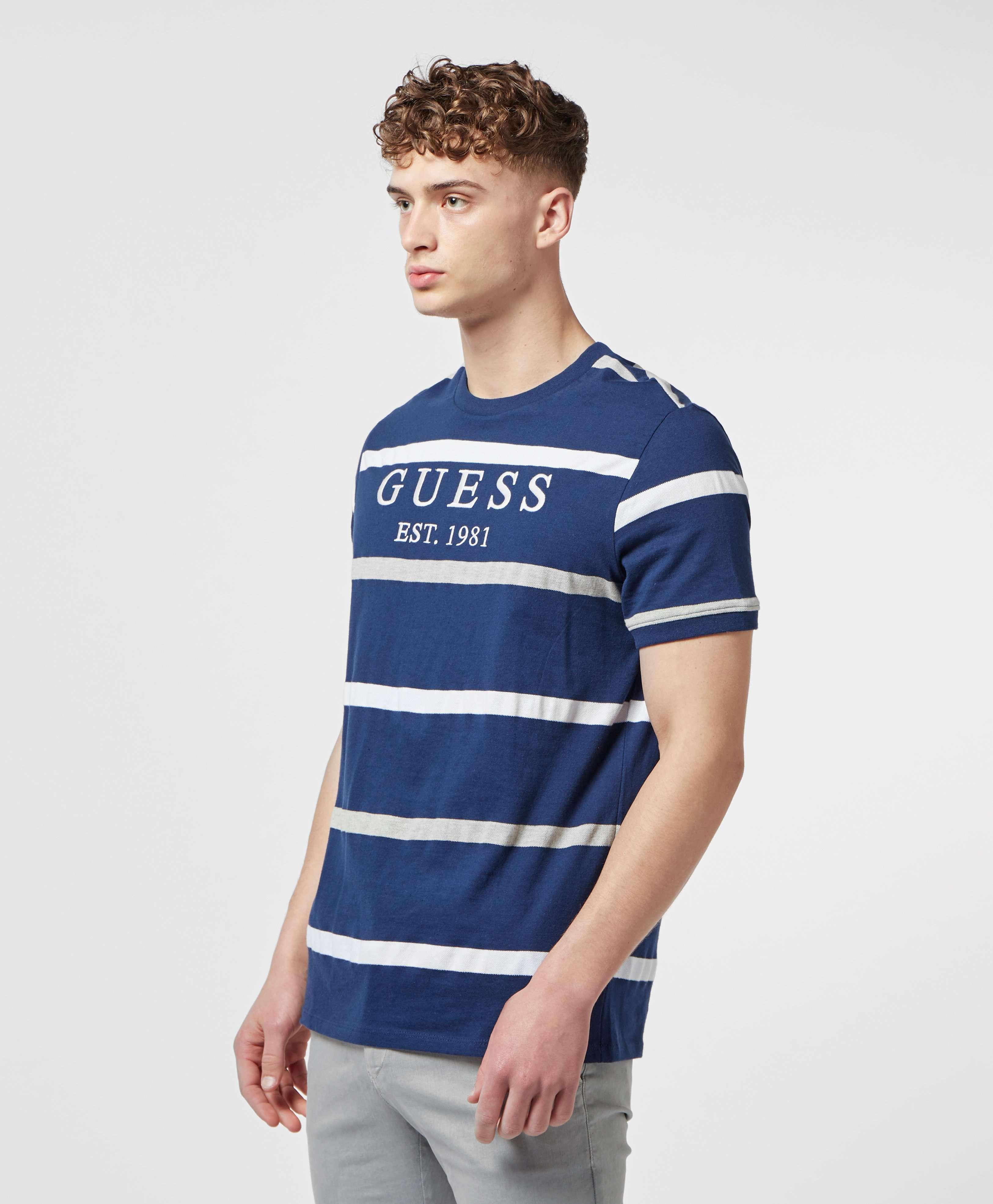 Guess Logo Pique Short Sleeve Stripe T-Shirt
