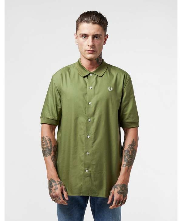 Fred Perry Knitted Collar Short Sleeve Shirt