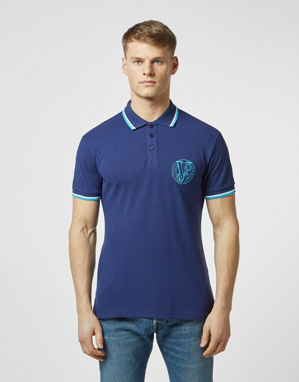 Versace Jeans Stitch Logo Short Sleeve Tipped Polo Shirt
