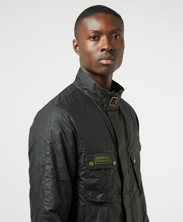 6673631674 Barbour International Lever Waxed Padded Jacket | scotts Menswear
