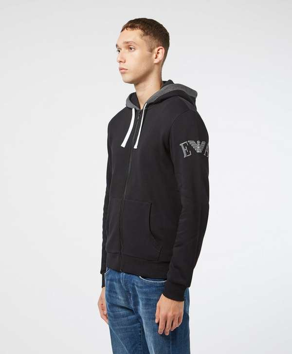 Emporio Armani Embroidered Sleeve Full Zip Hoodie