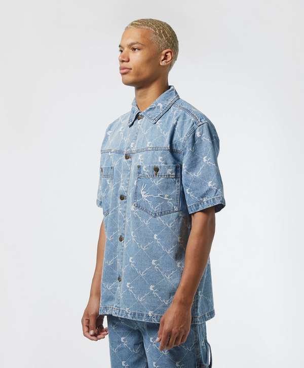 Karl Kani All Over Print Short Sleeve Denim Shirt