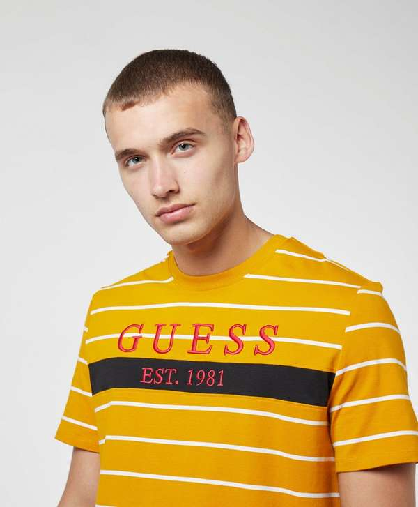 Guess Large Logo Short Sleeve Stripe T-Shirt
