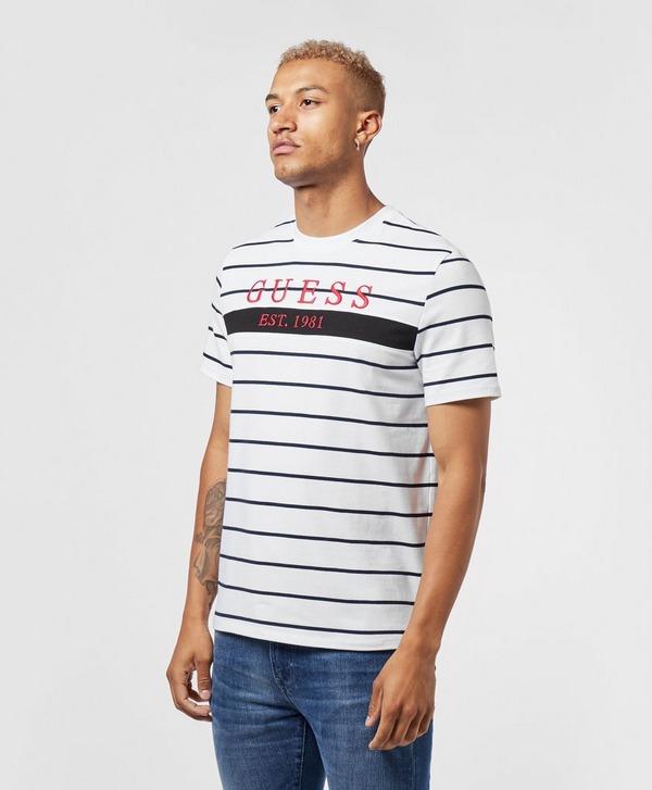 Guess Large Logo Short Sleeve Stripe T-Shirt