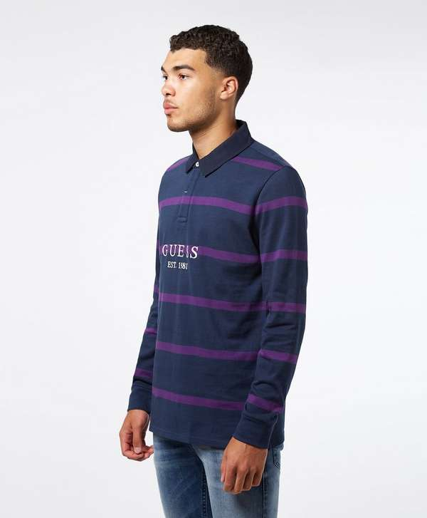Guess Rugby Stripe Long Sleeve Polo Shirt