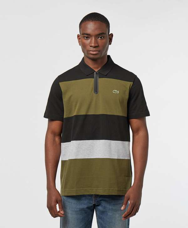Lacoste Block Zip Placket Short Sleeve Polo Shirt