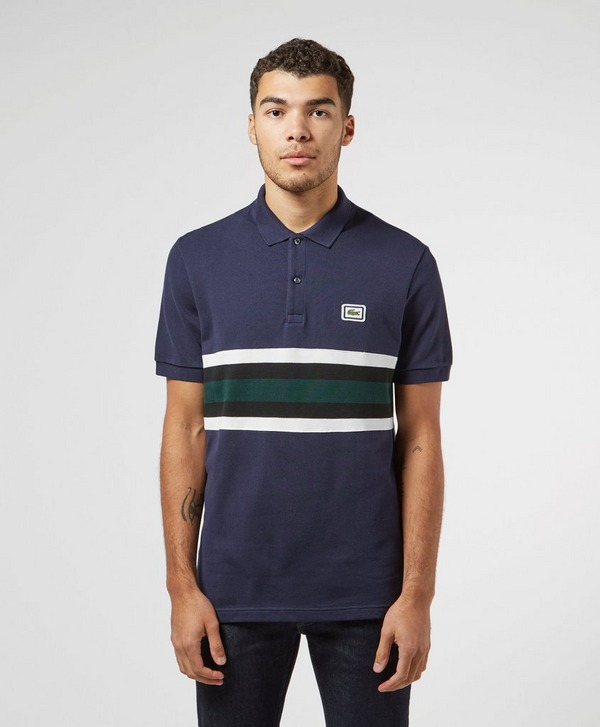 Lacoste Badge Stripe Short Sleeve Polo Shirt