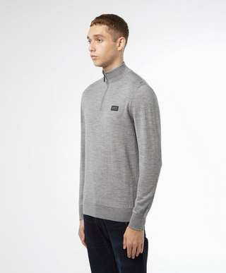 Barbour International Half Zip Merino Knit Jumper