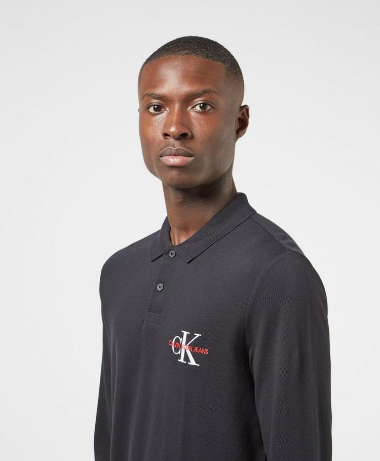 Calvin Klein Jeans Embroidered Logo Long Sleeve Polo Shirt