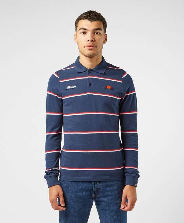 Ellesse Stripe Long Sleeve Polo Shirt