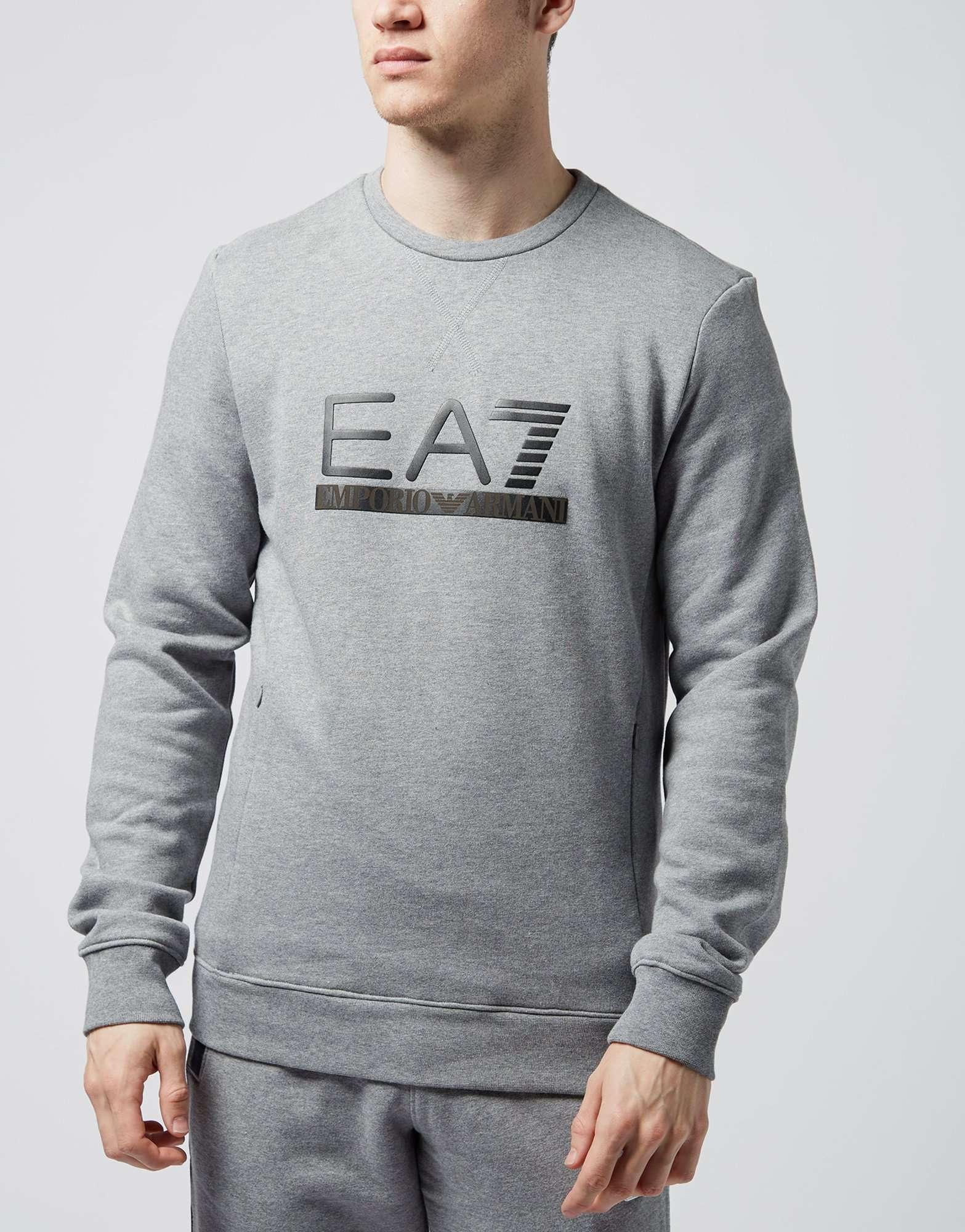 00c086e8 Emporio Armani EA7 Leather Style Crew Sweatshirt - Exclusive ...