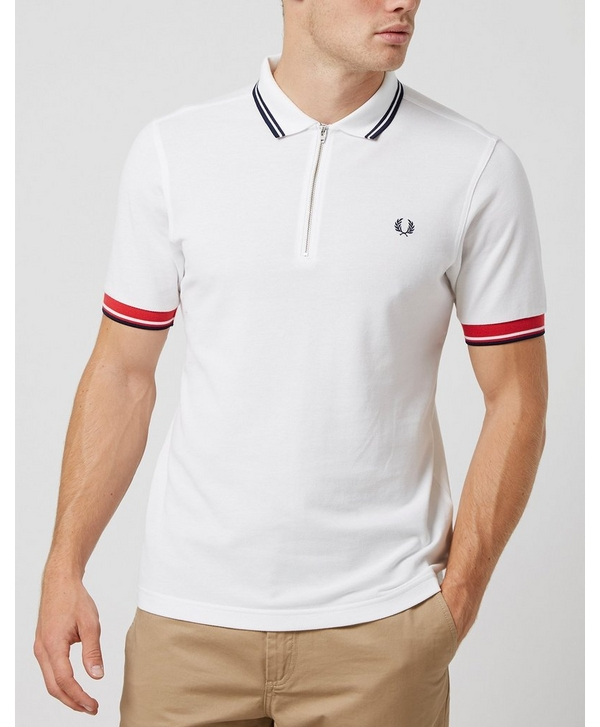 7a5413256 Fred Perry Zip Pique Twin Tipped Polo Shirt