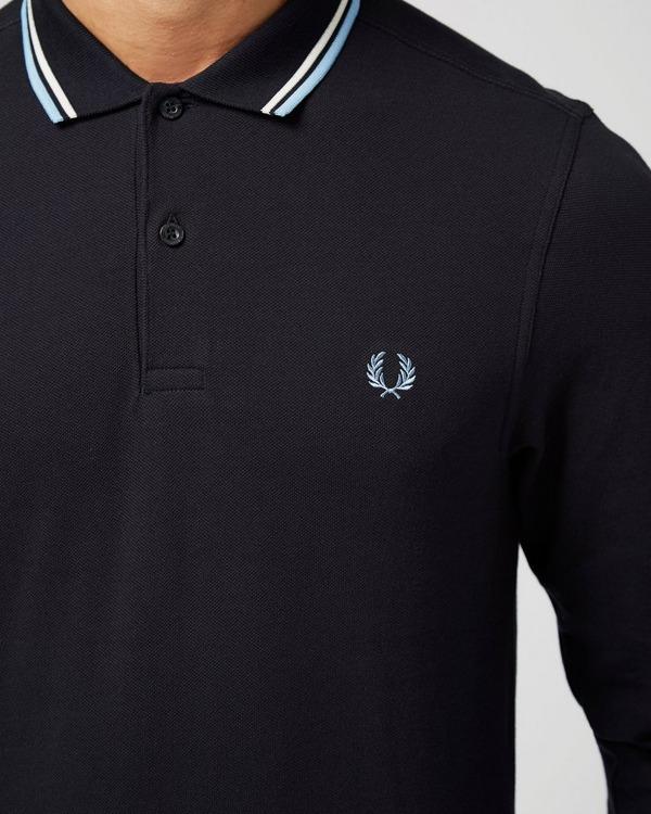 varm försäljning online Perfekt kvalite köpa försäljning Fred Perry Long Sleeve Twin Tip Polo Shirt | scotts Menswear