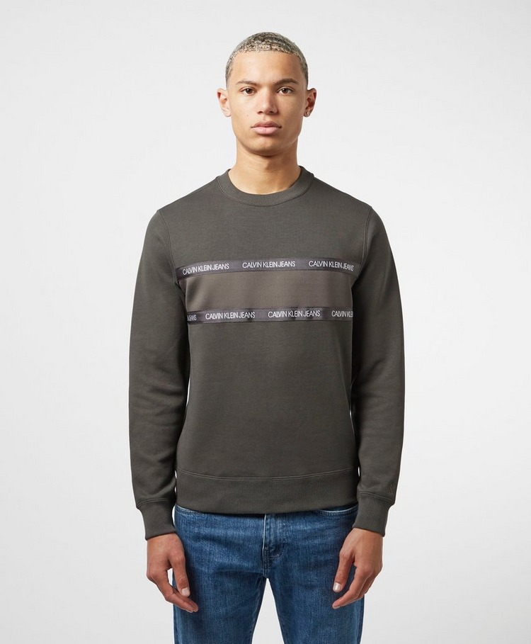 Calvin Klein Jeans Tape Mixed Media Crew Neck Sweatshirt
