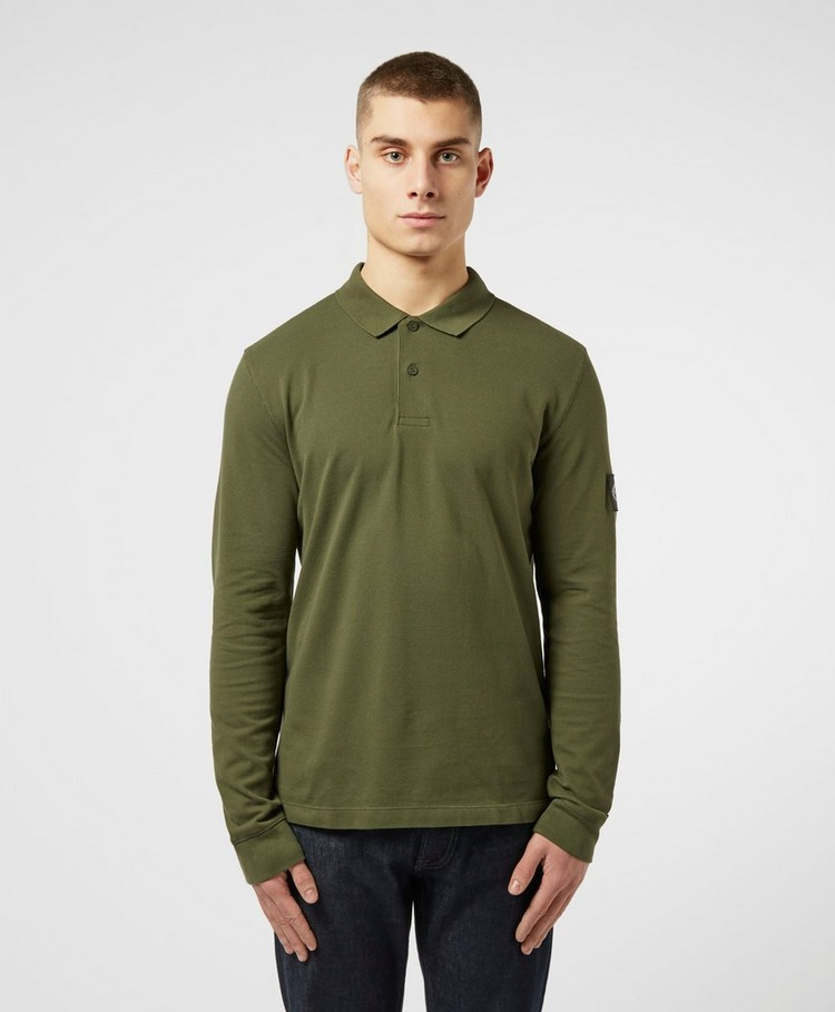 Calvin Klein Jeans Monogram Badge Long Sleeve Polo Shirt