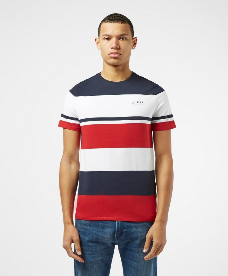 Guess Stripe Colour Block Short Sleeve T-Shirt