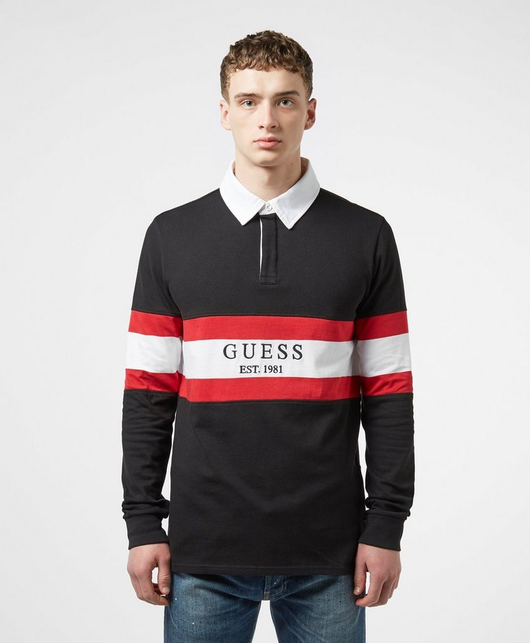 GUESS Panel Long Sleeve Rugby Polo Shirt