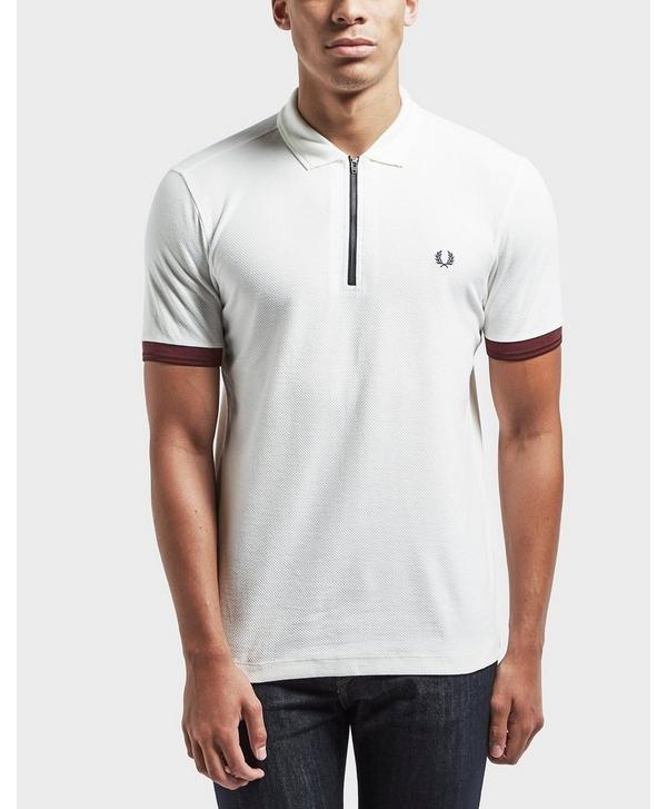 4978a9c55 Fred Perry Pique Zip Neck Short Sleeve Polo Shirt