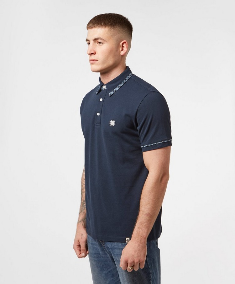 Pretty Green Check Trim Short Sleeve Polo Shirt