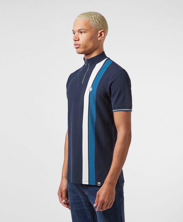 Pretty Green Side Stripe Short Sleeve Zip Polo Shirt