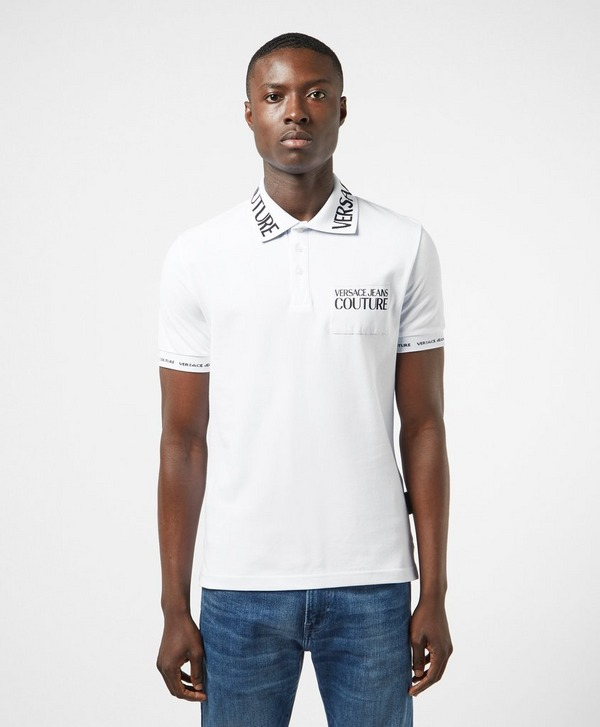 Versace Jeans Couture Collar Print Short Sleeve Polo Shirt