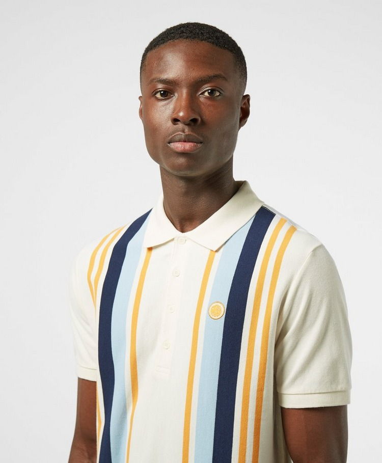 Pretty Green Carnation Vertical Stripe Short Sleeve Polo Shirt