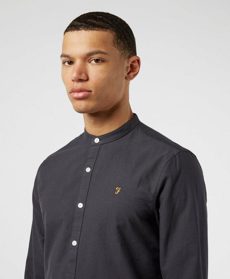 Farah Brewer Grandad Collar Long Sleeve Shirt