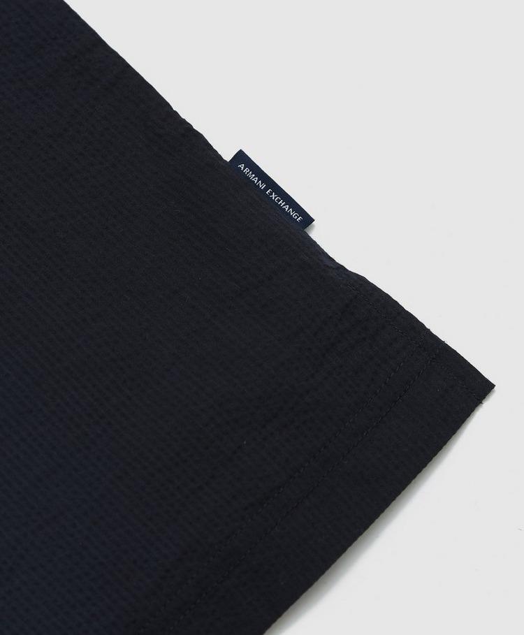 Armani Exchange Seersucker Panel Short Sleeve Polo Shirt