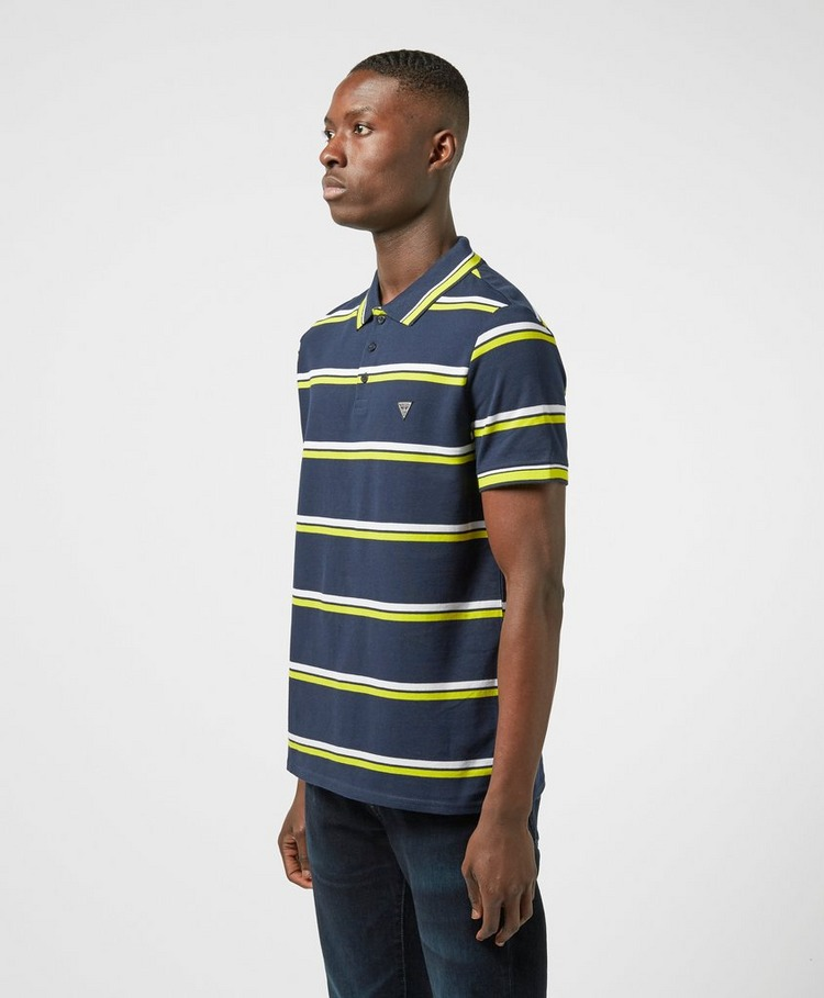GUESS Neon Stripe Short Sleeve Polo Shirt
