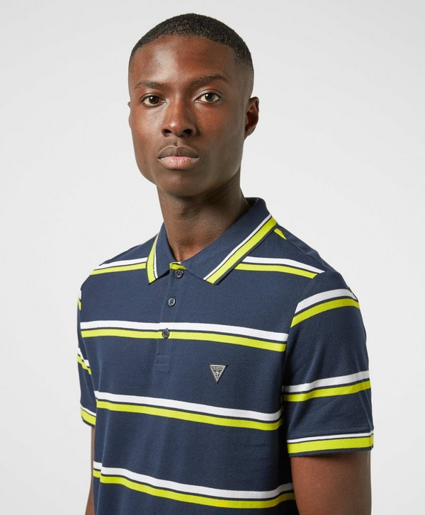 Guess Neon Stripe Short Sleeve Polo Shirt