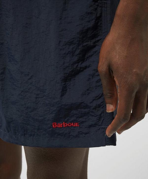 """Barbour 7"""" Text Swim Shorts"""