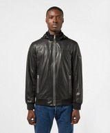GUESS Sporty Faux Leather Hooded Bomber Jacket