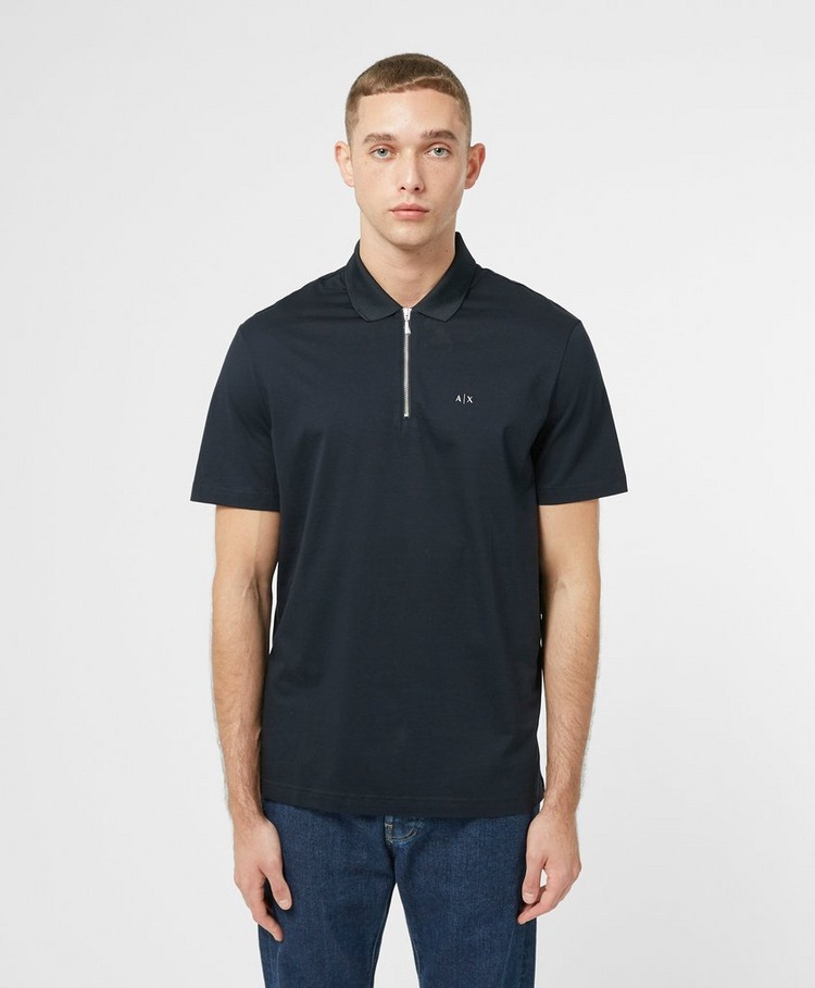 Armani Exchange Mercerised Zip Short Sleeve Polo Shirt