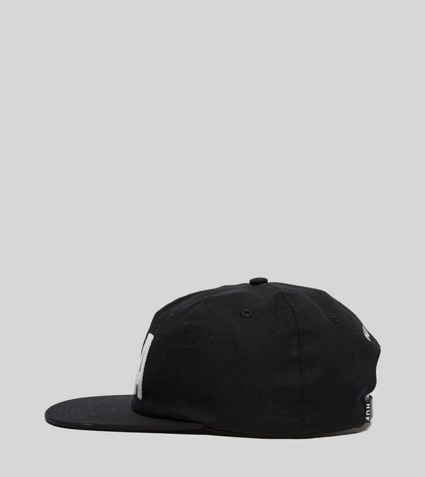 NWT Huf Pole Position Black 6 Panel Strapback Hat