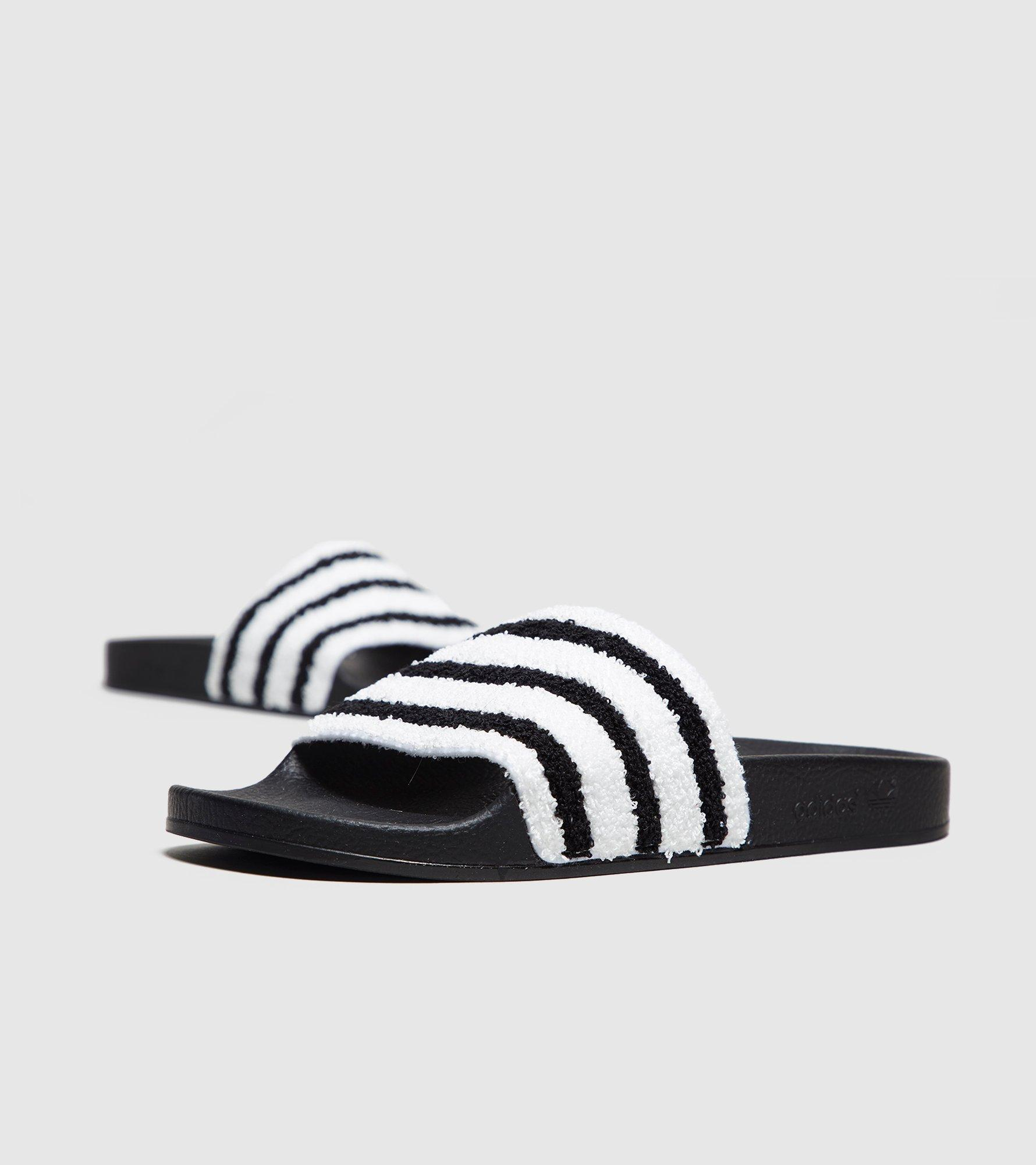 adidas originals adilette slides in black toweling