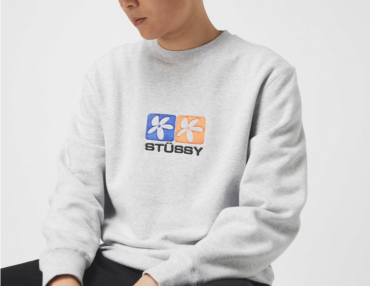 Stussy 2 Flowers Applique Sweatshirt