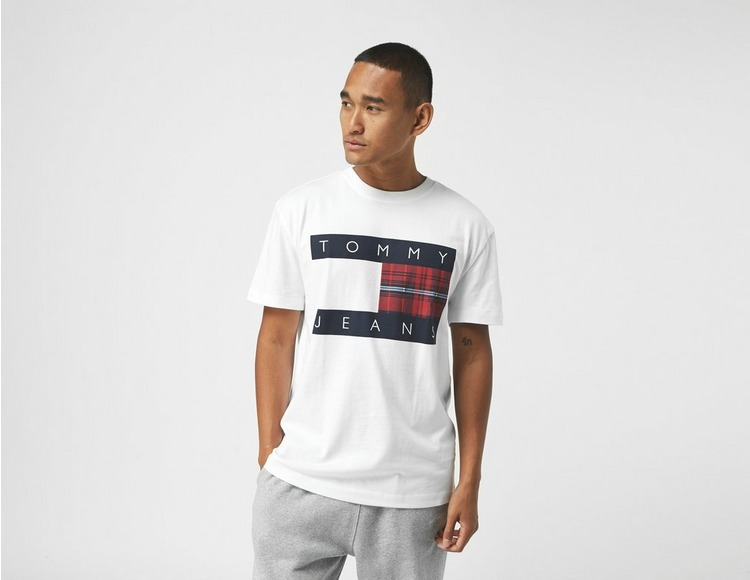 Tommy Jeans Plaid Centre Flag Logo Organic Cotton T-Shirt