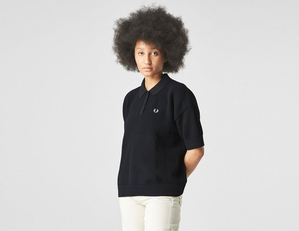 Fred Perry Oversized Open-Knit Polo Shirt