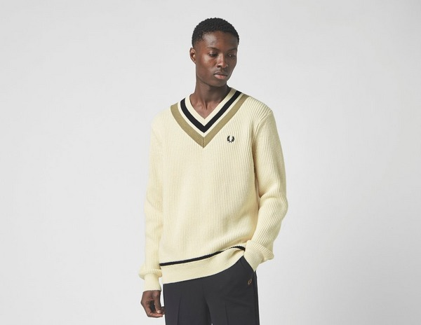 Fred Perry Striped V Neck Tennis Jumper