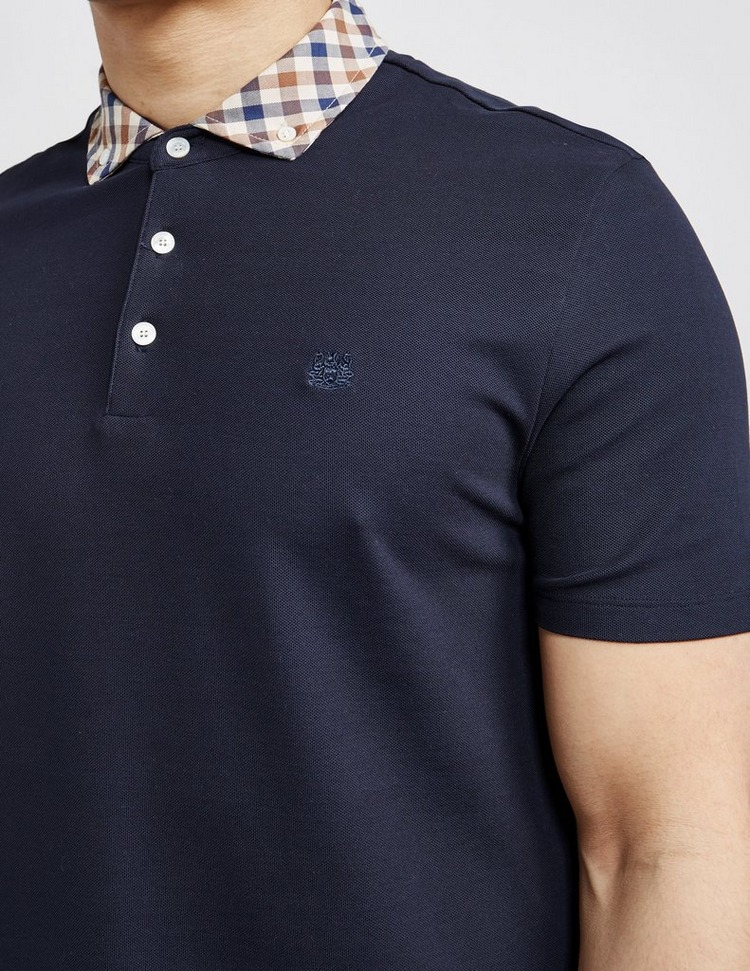 Aquascutum Club Check Collar Short Sleeve Polo Shirt