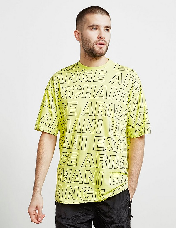 Armani Exchange All Over Letter Print Short Sleeve T-Shirt